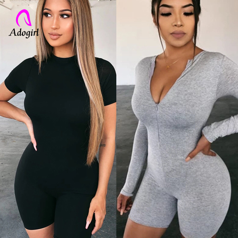 Cotton Romper Bodysuit Outfits Long-Sleeve Fitness Female Women Neck Zipper-Up Solid title=