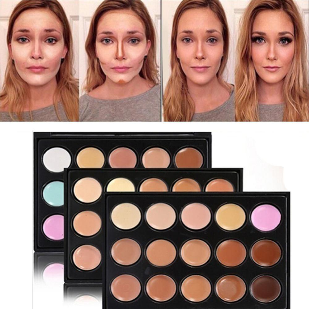 10x8x1cm Mini 15 colores paleta corrector de rostro crema de camuflaje contorno maquilaje Profesional Corretivo Maquiagem impermeable