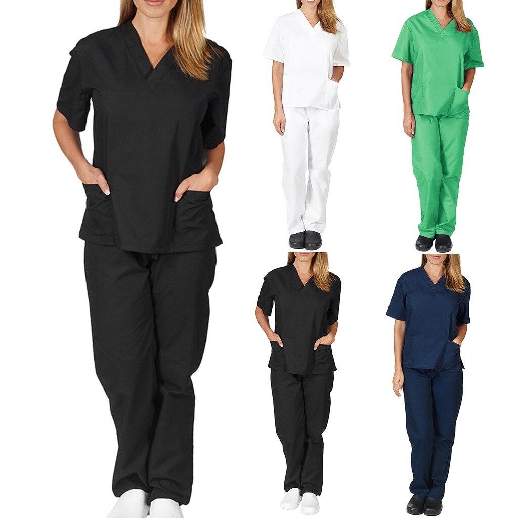 Women Men Workwear Short Sleeve V-neck Tops+Pants Nursing Working Uniform Suit Scrub Uniform Overalls Clothes(China)
