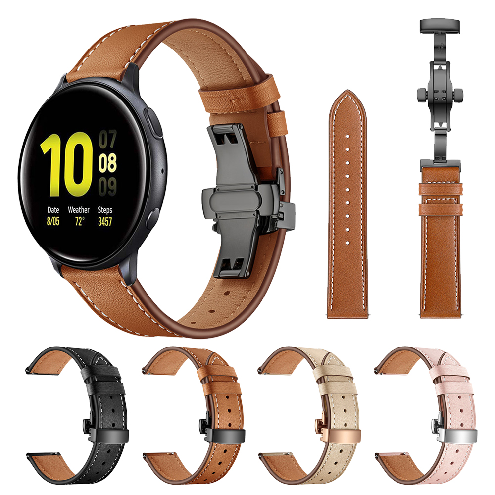 High Quality Genuine Leather Strap Band For Samsung Galaxy Watch Active 2 44mm 40mm ремешок Bracelet Butterfly Buckle Watchband