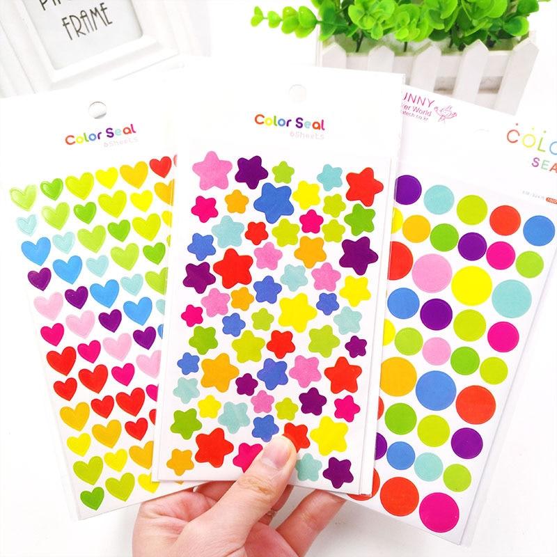 6 hojas/juego pegatinas para niños lindo corazón estrella forma de punto adhesivo para álbum de recortes diario adornos para álbumes de fotos Supplie niña niño regalo