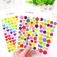 6 Sheets/Set Kids Stickers Cute Heart Star Dot Shape Sticker For Scrapbooking Diary Photo Album Decoration Supplie Girl Boy Gift