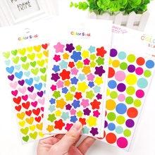 6 Sheets/Set çocuklar çıkartmaları sevimli kalp yıldız nokta şekli Sticker Scrapbooking için günlüğü fotoğraf albümü dekorasyon tedarikçisi kız çocuk hediye