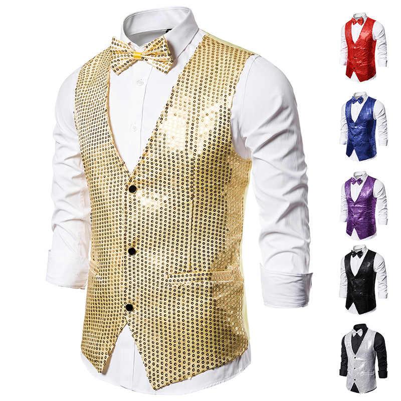 Mannen Gold Shiny Pailletten Vesten met Bowtie Slim Fit V-hals Wedding Bruidegom Vest Mannen DJ Bar Stage Prom paillette Gilet Homme