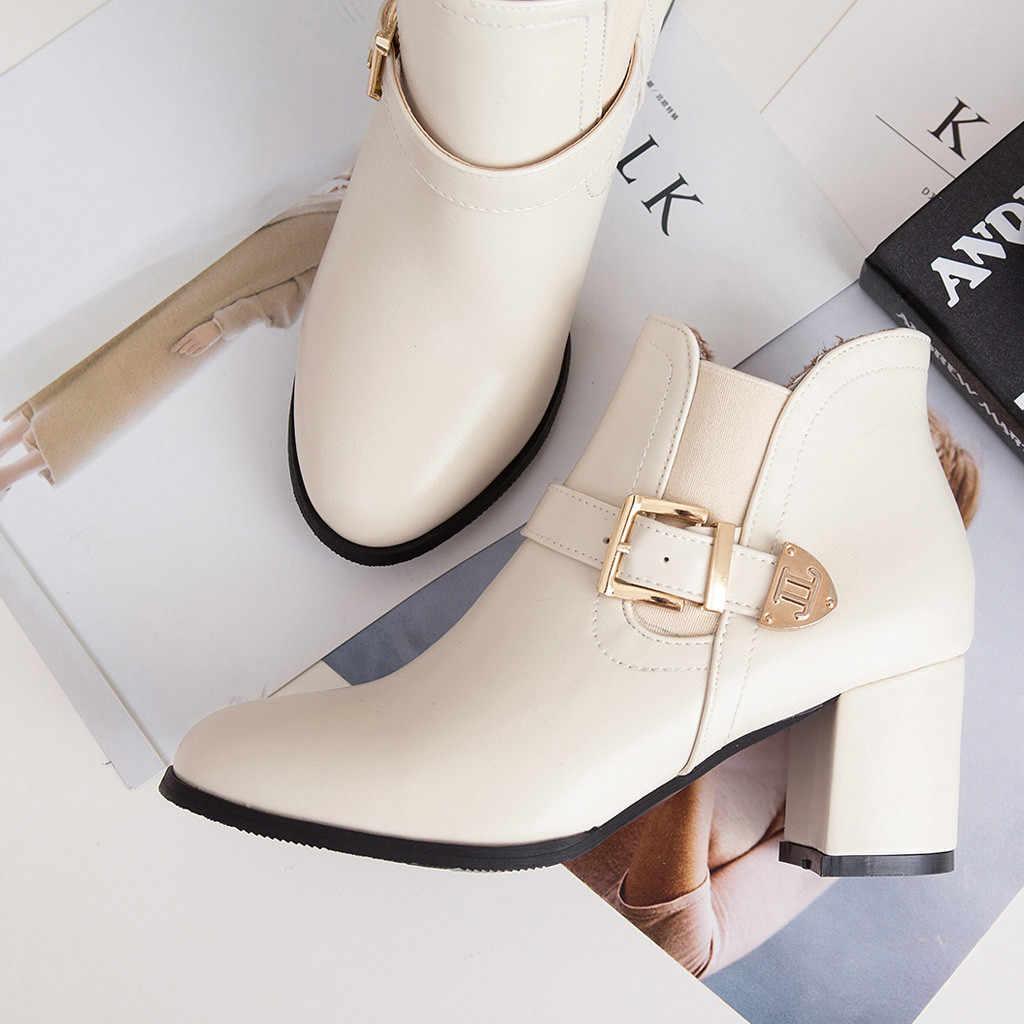 SAGACE jesienne botki damskie modne szpilki skórzane buty damskie dorywczo wodoodporne buty wsuwane kobieta Chelsea Boots # 4z