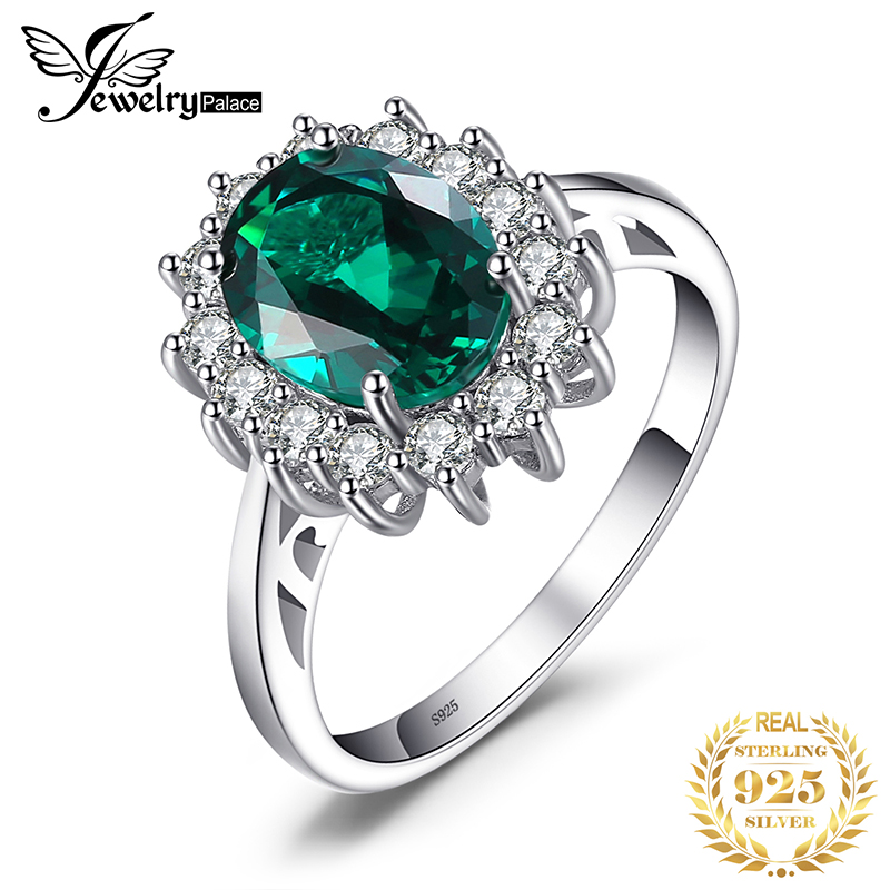 JewPalace Princess Diana Simulated Emerald Ring 925 Sterling Silver Rings For Women Engagement Ring Silver 925 Gemstones Jewelry