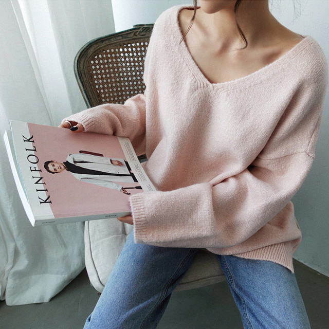 Ailegogo Women V-neck Sweater Loose Fit Autumn Winter Warm Casual Knitted Tops Female Long Solid Color Knit Pullovers 6