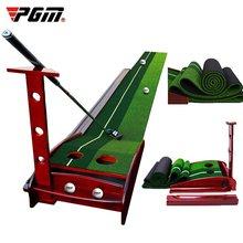 Pgm – entraîneur de Golf en salle de 3/3 M, avec tapis de pratique de Golf à Base en bois massif, balles de retour portables, aides à l'entraînement