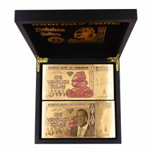 Wholesale One Hundred Trillion/Quintillion/Octillion Dollars Zimbabwe Gold Banknote In Wooden Box with Certificates 100pcs/lot