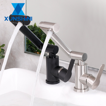 XUNSHINI Creativity Paint Black Brushed Faucet Hot And Cold Water Tap Above Counter Basin Single Handle 360Rotation Faucets