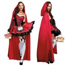 Küçük kırmızı başlıklı kız kostüm kadınlar için fantezi yetişkin Cosplay Fantasia elbise Halloween Party kostüm sahne performansları kostüm