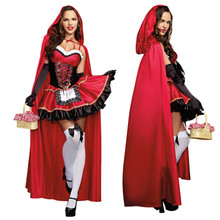 Little Red Riding Hood Costume For Women Fancy Adult Cosplay Fantasia Dress Halloween Party Costume Stage Performances Costume