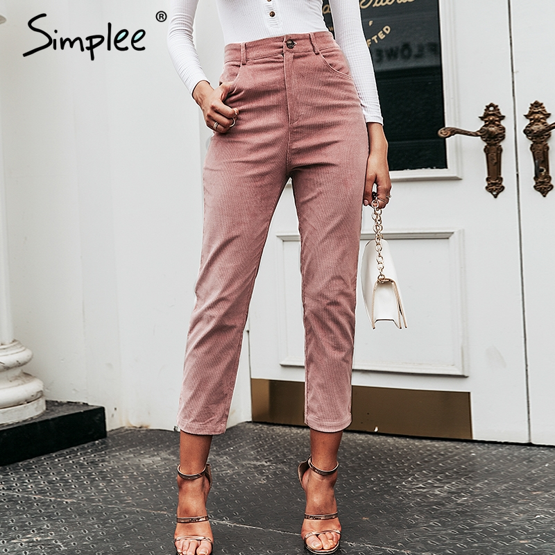 Simplee High Waist Streetwear Women Pants Solid Thin Buttons Female Trousers 2019 Zip Ladies Autumn Winter Work Wear Pencil Pant