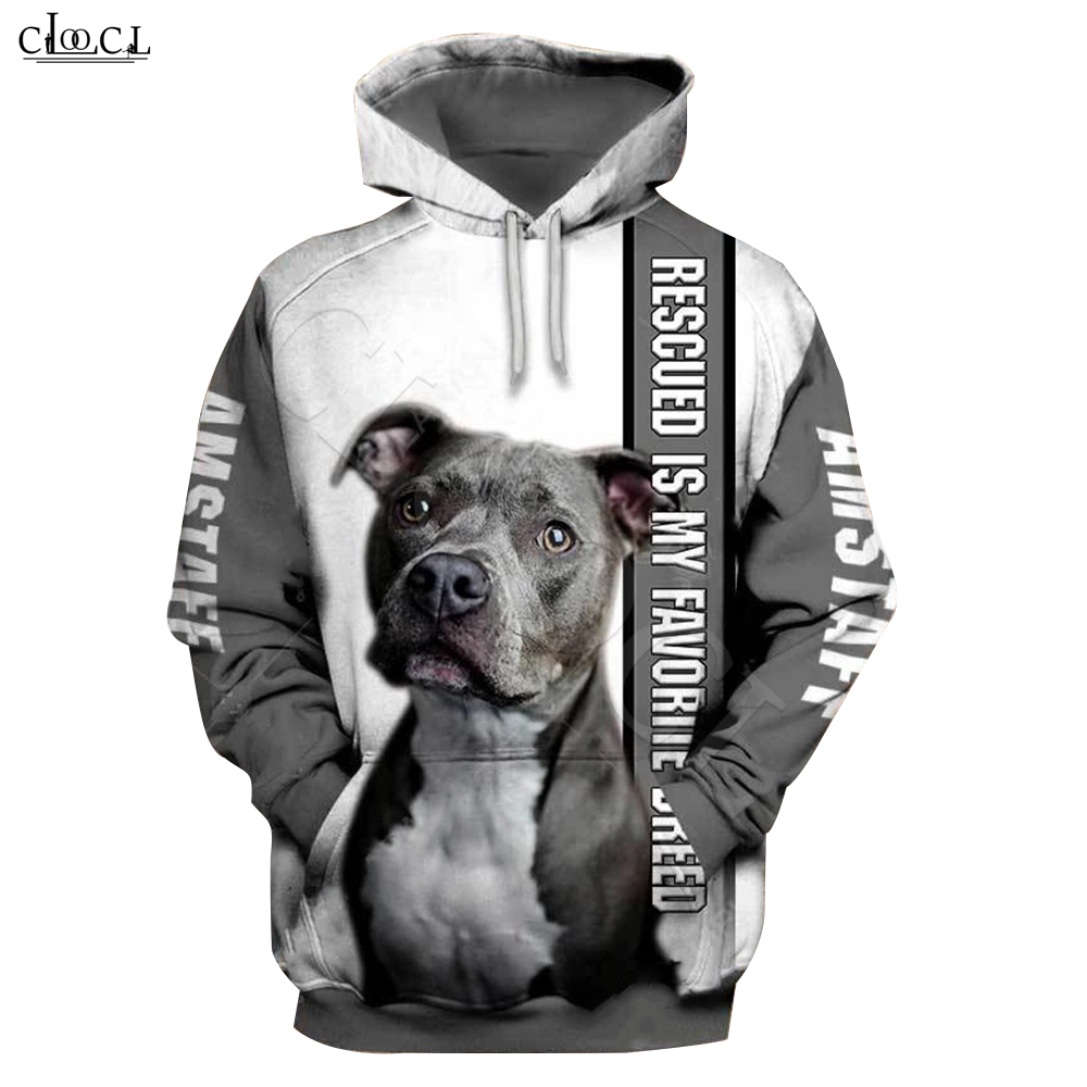 2020 Fashion Animal Rescue Amstaff Dog 3D Print Hoodie Men Women Sweatshirt Casual Pet Dog Designs Hooded Coat Drop Shipping