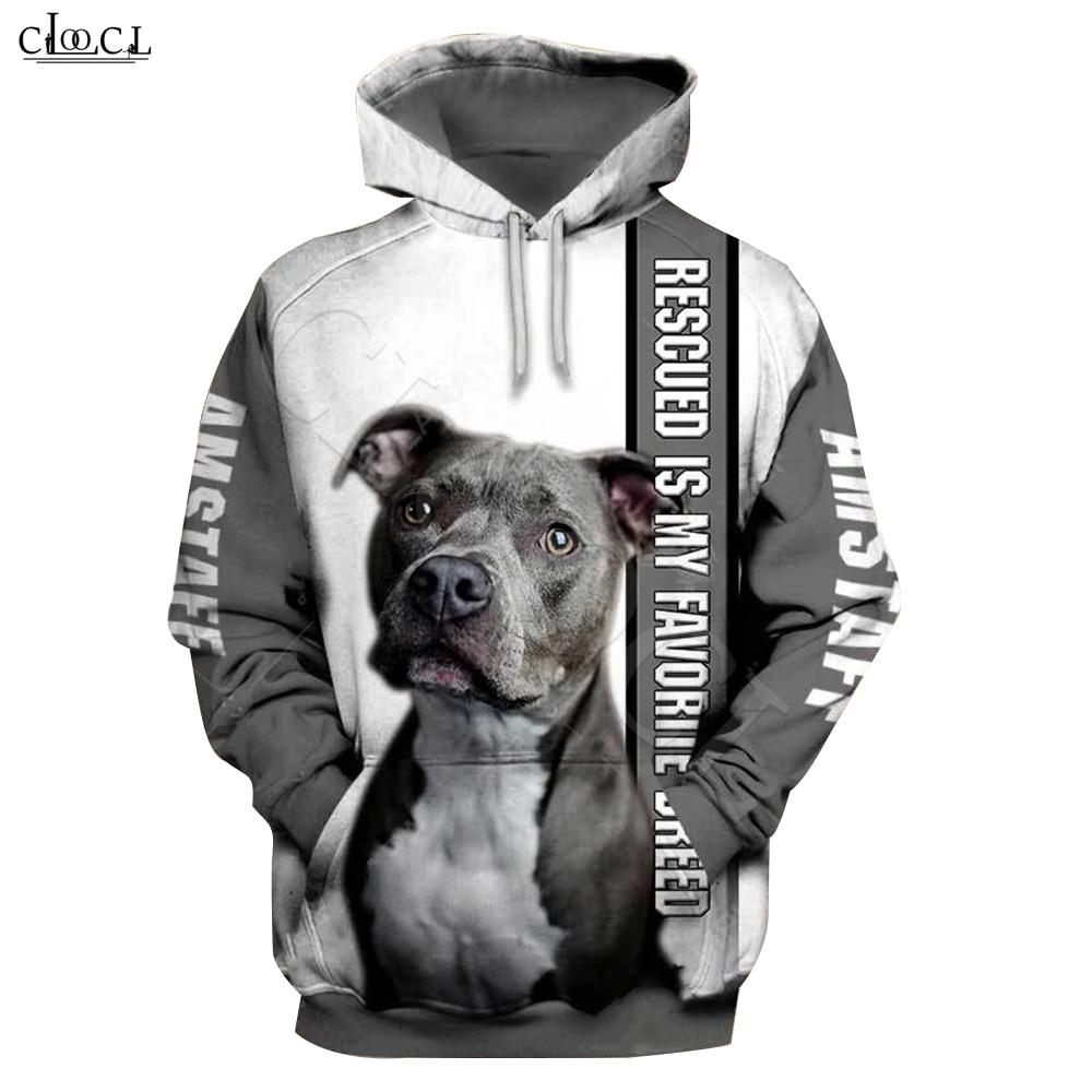 2020 Fashion Animal Rescue Amstaff Dog 3D Print Hoodie Men Women Sweatshirt Casual Pet Dog Designs Hooded Coat Drop Shipping