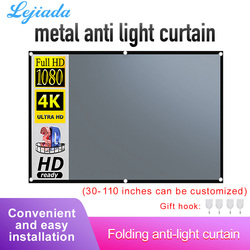 LEJIADA 4:3 Projector Anti Light Screen Curtain 84 100 110 inches Portable 3d HD Projection Screen With Black Border and Holes