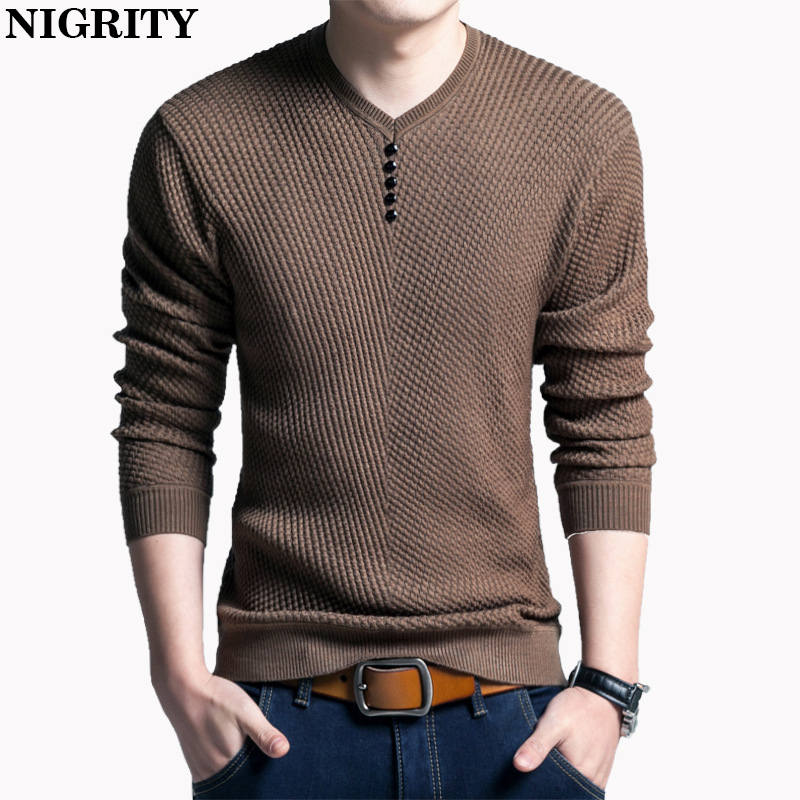 NIGRITY Sweater Men Casual V-Neck Pullover Men Autumn Slim Fit Long Sleeve Shirt Mens Sweaters Knitted Cashmere Wool Pull Homme