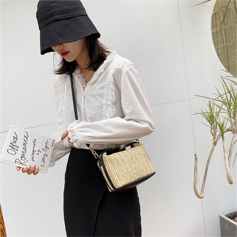 Mini Straw Messenger Bag for Women 2021 with Leather Shoulder Strap
