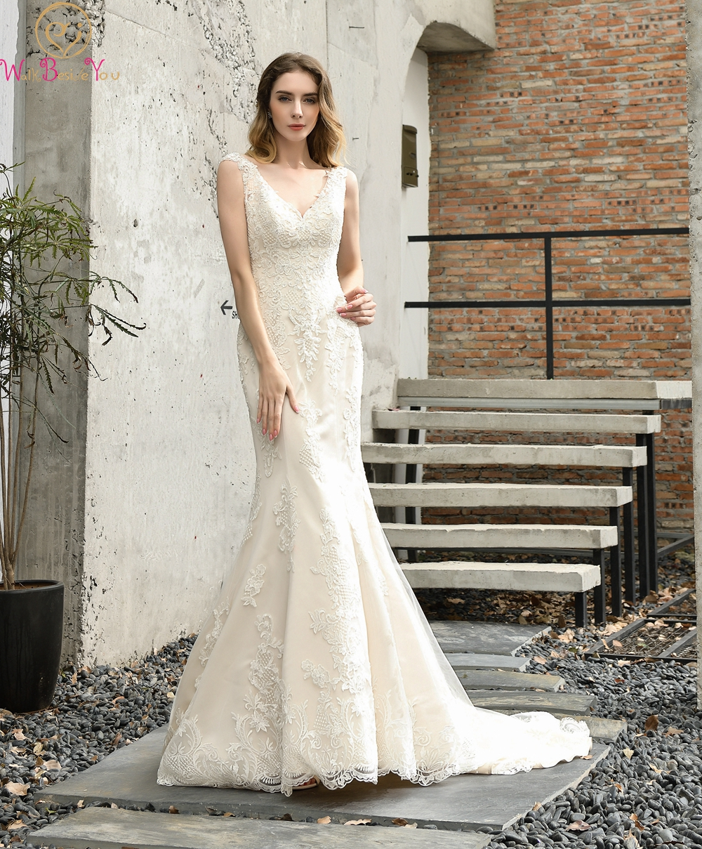 Elegant V-Neck Mermaid Wedding Dresses 2019 Ivory/White Appliques Lace Sleeveless Sexy Hollow Back Bridal Gowns Robe De Mariee