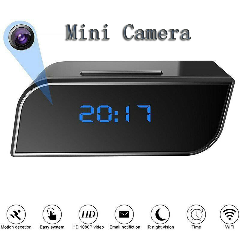 HD 1080P Mini WIFI Camera Clock Wireless Home Night Vision Video Security Motion Detect Mini IP Camcorder Time Display Camera