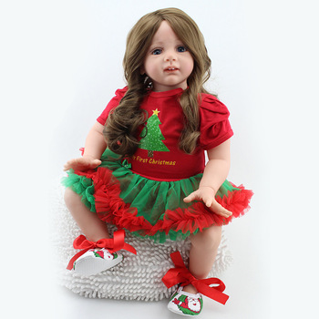 60CM Baby Reborn Dolls Realistic Princess Baby Toys Lifelike Silicone Doll Wear Christmas Clothes Girl Toys For Children Gift keiumi realistic silicone reborn babies doll lifelike 22 princess baby girl doll gold hair bebe reborn toys for kids gifts