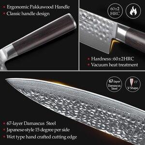 Image 4 - XINZUO Set de couteaux de cuisine en acier inoxydable, VG10, damas Chef tranchants Santoku Nakiri couteaux à trancher, manche en Pakkawood