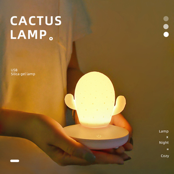 USB LED Touch Dimming Cactus Silicone Night Light Kids Bedroom Home Modern Indoor Study Bedside Decoration Creative Gift Lamp night light bedroom bedside table desk cute lamp remote decoration dimming dream romantic warm sleep decoration creative gift
