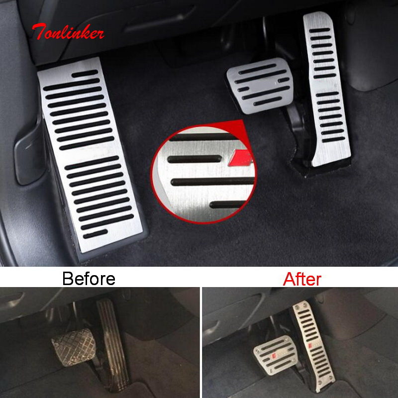 Tonlinker Interior Gas/Brake/Rest <font><b>Pedal</b></font> Cover case Stickers for <font><b>AUDI</b></font> <font><b>Q3</b></font> 2012-19 Car Styling 2-3 PCS Aluminum Cover stickers image