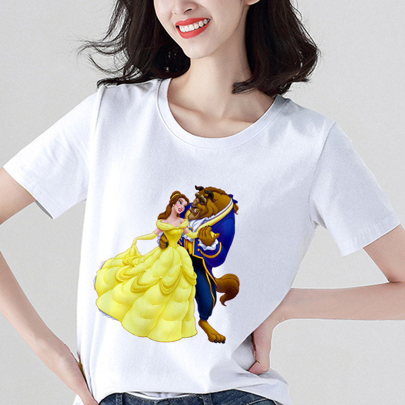 Beauty And The Beast Printed T Shirt Women Fashion Harajuku Short Sleeve T-shirt White Suitable Four Seasons Tshirt Tops Clothes