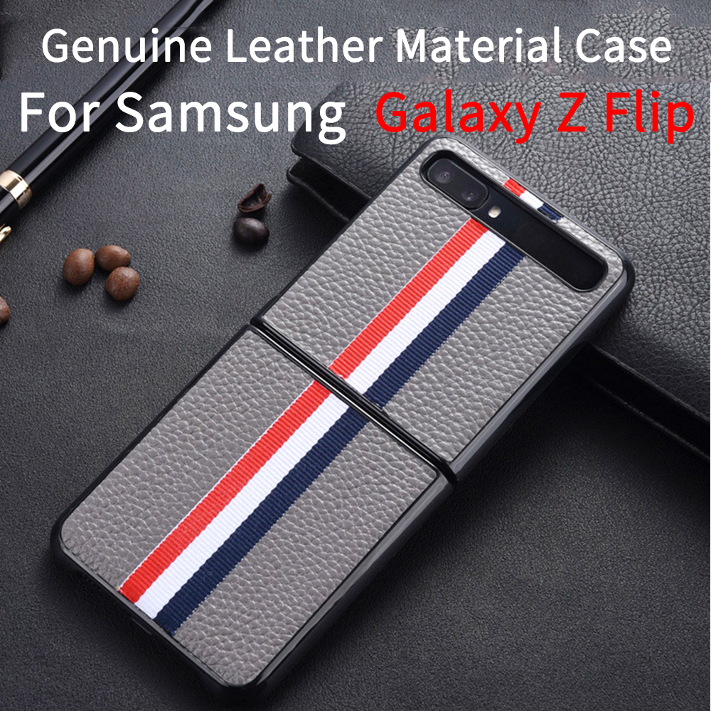 Genuine Leather Samsung Galaxy Z Flip Case SM-F700F Case 2020 Protection Cover Samsung Galaxy Z Flip Shell Shockproof Cover