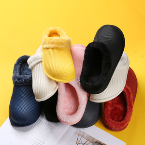 Image 5 - 2019 חורף פרווה מקורה נעלי בית לנשים גברים צבעים בוהקים כפכפים רצפת בית נעלי בית אישה עמיד למים כפכפים Hommer נעלי בנות