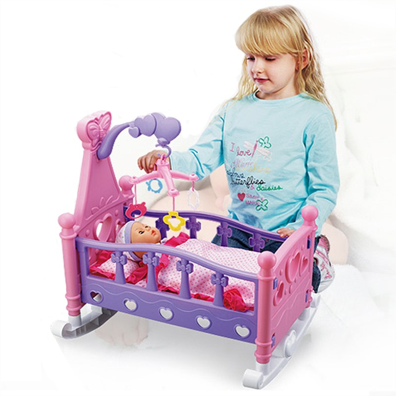 Children's Play House Simulation Baby Shaker Doll Toy Sets Rocking Cradle Crib Cot Bed Girls Toy With Blanket Pillow Shaker Sets