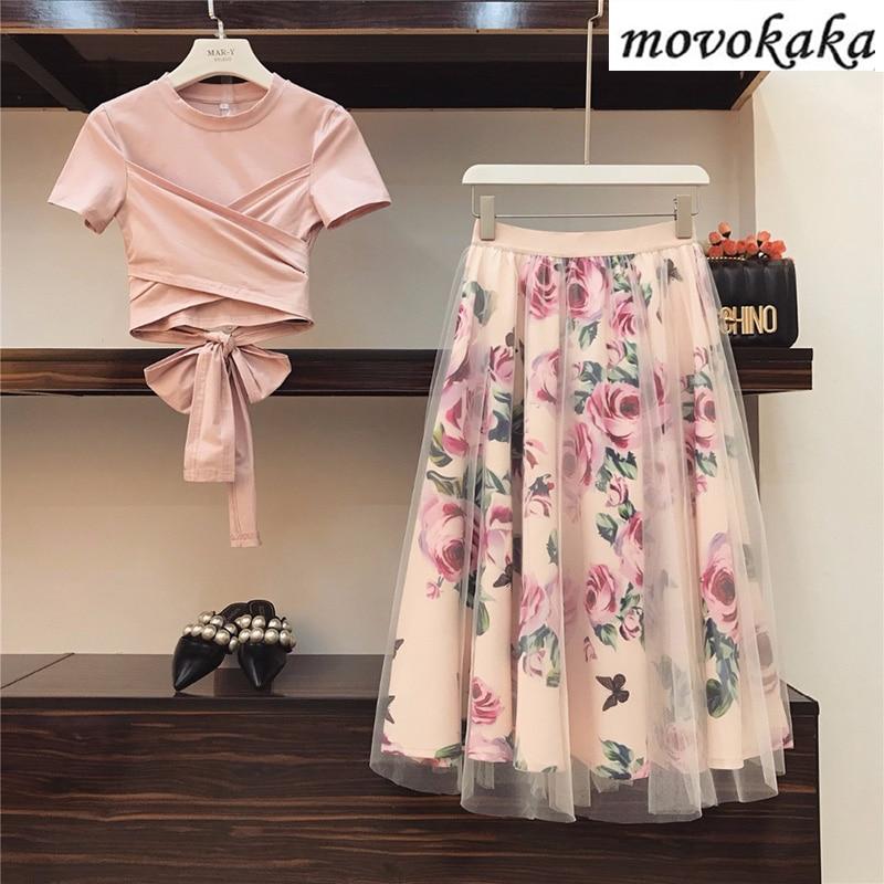 MOVOKAKA 2020 Fashion Two Piece Set Women Top And Skirt Plus Size 2 Piece Set Women Summer T Shirt+Mesh Skirts Sexy Women's Sets