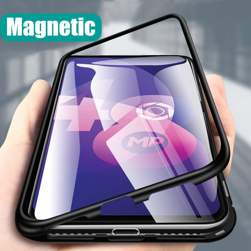 Magnetic Adsorption Case For MOTOROLA MOTO E6 G6 G7 G8 Play Plus G7 Plower E5 One Macro Tempered Glass Magnet Case