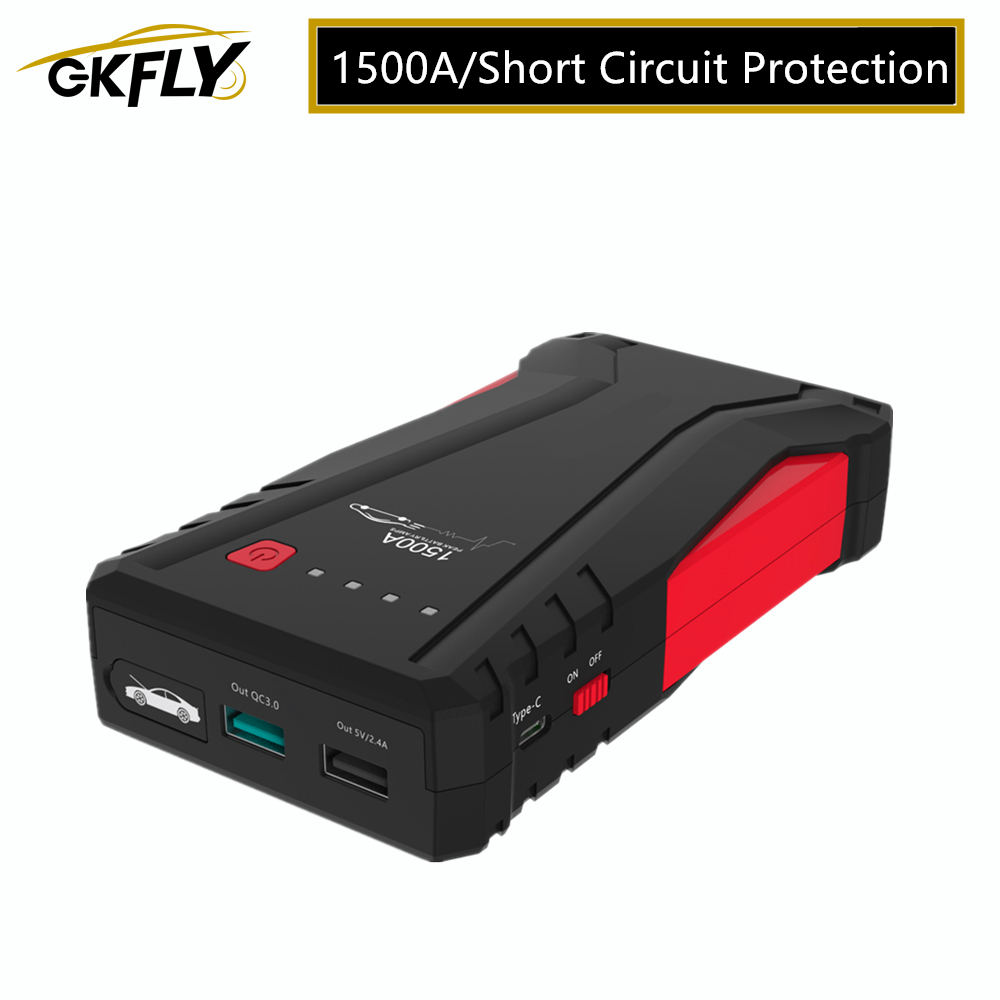GKFLY MultiFunction Emergency Car Jump Starter 12V 1500A Portable Power Bank Car Charger Battery Booster Starting Device Cables