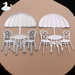 Bunnymoon Beach tables and chairs Metal Cutting Dies 3D DIY Scrapbooking Carbon Sharp Craft Die Photo Invitation Cards Decoratio