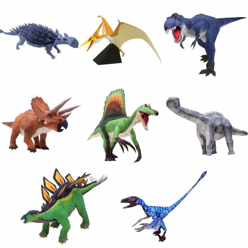 Puzzle Brinquedos do Dinossauro Tiranossauro Rex 3D Pterossauro Montado Figura Montagem Manual DIY Paper Craft Modelos De Recolha de Brinquedos Dos Miúdos