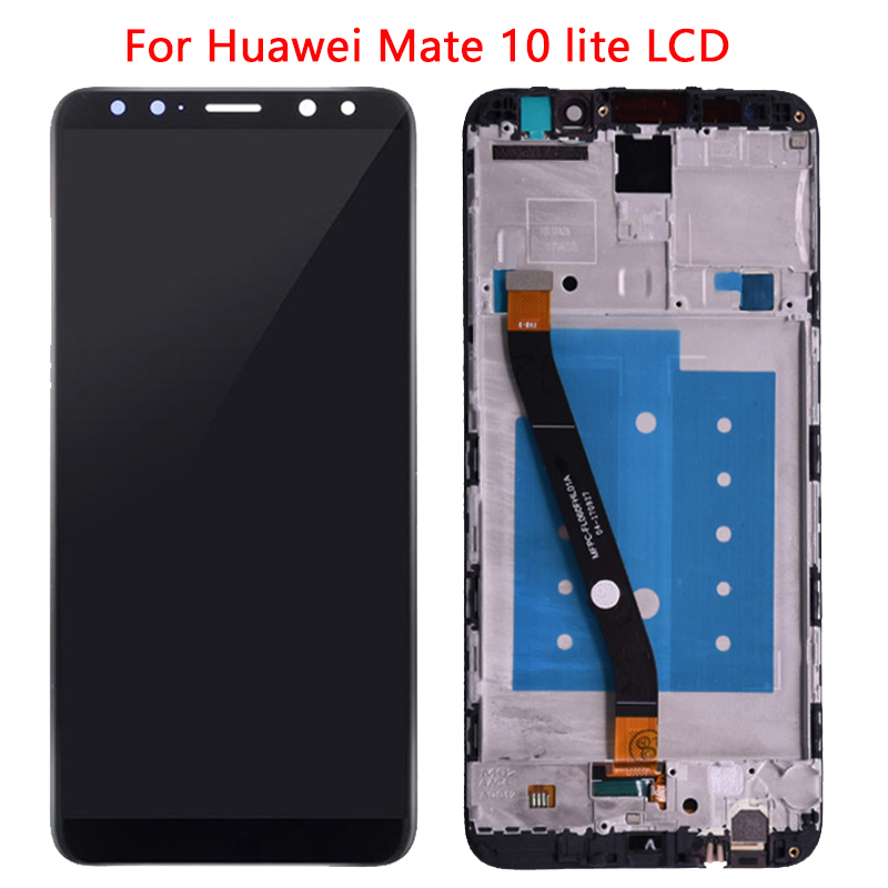 Nueva pantalla Nova 2i para Huawei Mate 10 lite LCD con montaje de marco para Huawei G10 Plus LCD RNE-L21 Reparación de pantalla táctil