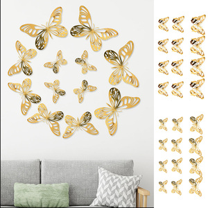 12pcs Lot 3D Butterfly Creative Wall Stickers 3d Hollow Butterflies Sticker for Kids Room Decor Party Living Room Decoration(China)
