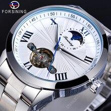 Forsining Tourbillon Mechanical Business Watch For Man Roman Number Moon Phase White Stainless Steel Belts Clock Erkek Kol Saati