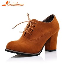 KARINLUNA New Plus Size 31-48 Autumn Spring Fashion Ladies High Heels Lace Up Shoes Woman Casual Office Party Pumps Women цена 2017