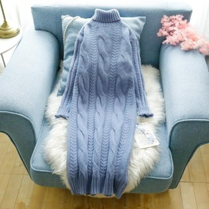 Women 2020 Autumn Winter Fashion Turtleneck Thick Sweater Dresses Female Casual Knitted Pullovers New Long Sleeve Jumpers