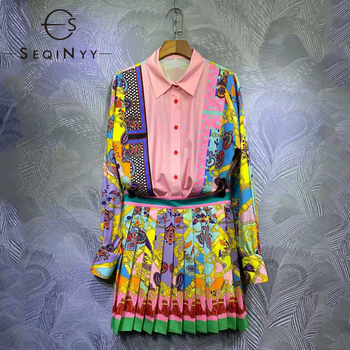 SEQINYY Pink Vintage Suit Flowers Print Colorful 2021 Summer Spring New Fashion Design Women Runway Shirt + Pleated Mini Skirt seqinyy 100% coton skirt 2020 summer spring new fashion design runway high quality sicily catus flowers print green skirt