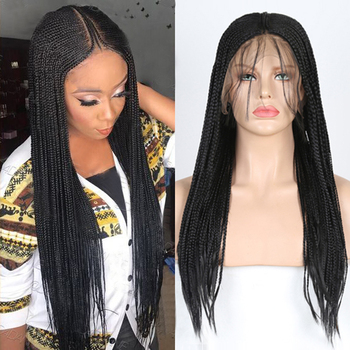 Charisma 13X6 Box Braided Wigs Glueless Synthetic Lace Front Wig with Baby Hair High Temperature Fiber Hair Cosplay Wigs