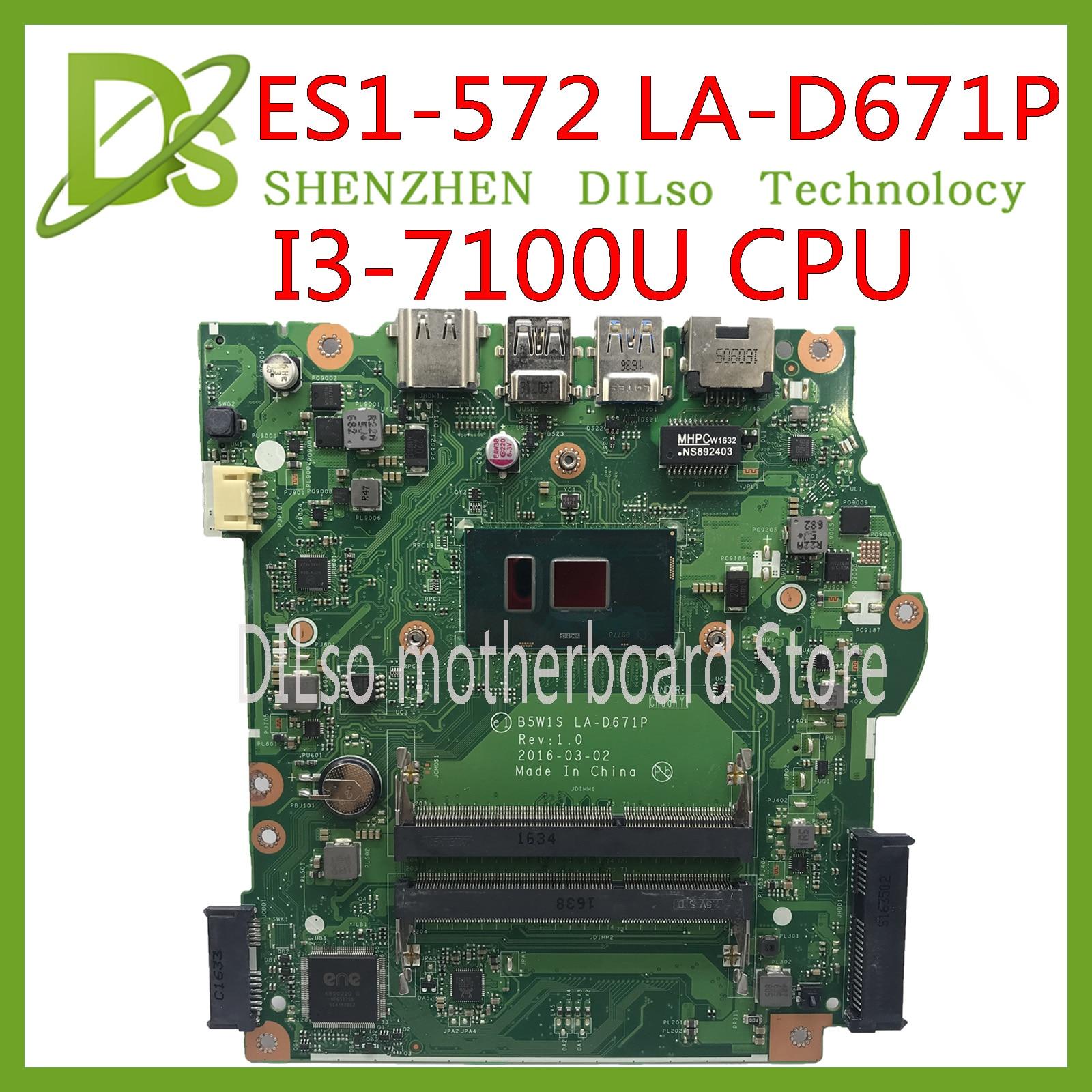 KEFU LA-D671P Mainboard For Acer Aspire ES1-572 Laptop Motherboard I3-7100u B5W1S LA-D671P Work 100% Original
