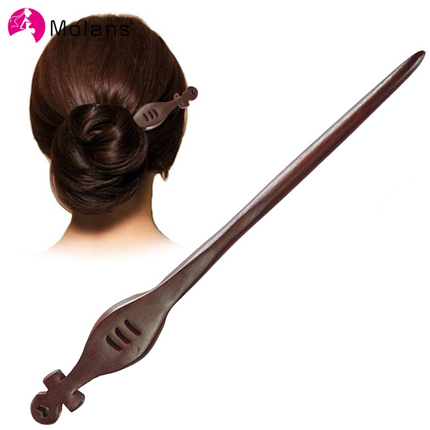 Molans Vintage Wooden Hair Stick Pin Handmade Carved Wood New Women Hair Accessories Chinese Retro Flower Heart Girl Hair Sticks