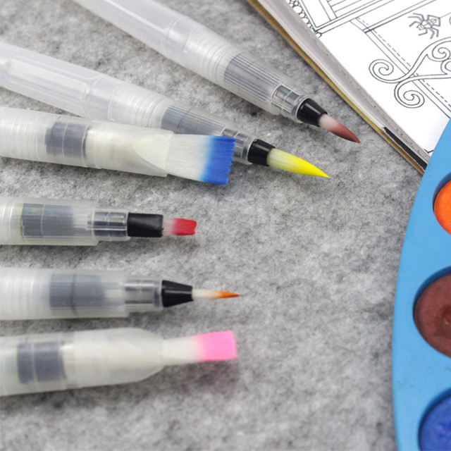 3 morceaux Marqueurs de pinceau portables peinture pinceau aquarelle pinceau aquarelle doux stylo police artistique étudiants papeterie