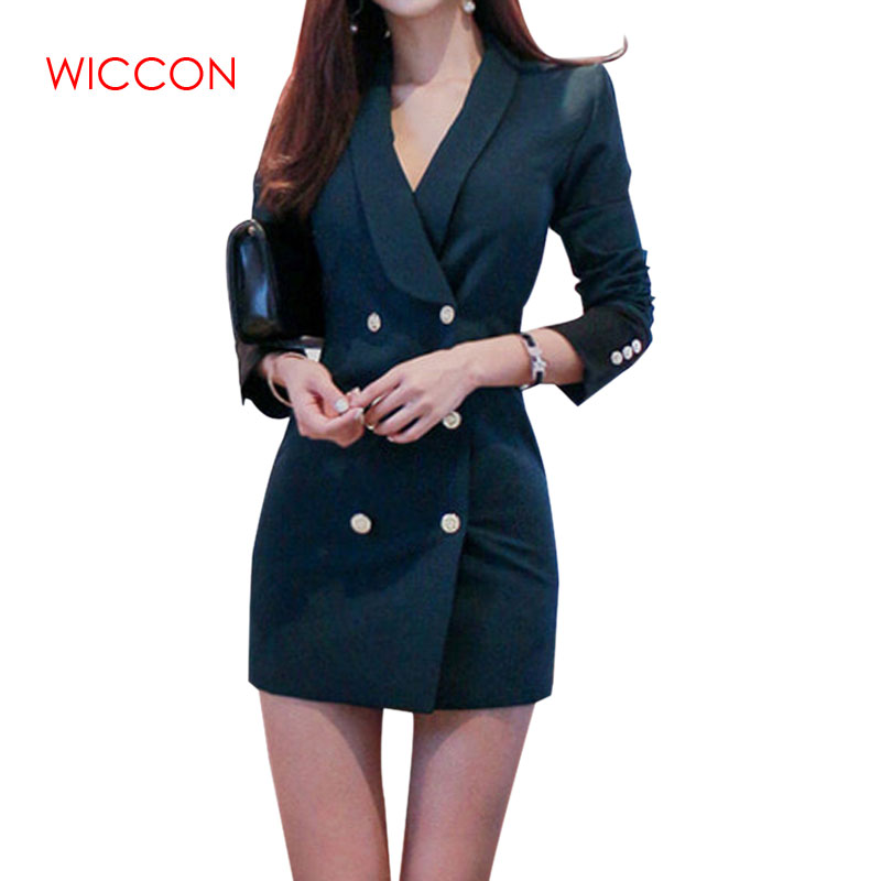 Women's Long Blazzer Double-breasted Contrast Color Sexy Slim Spring And Summer Professional Long Sleeve Workers