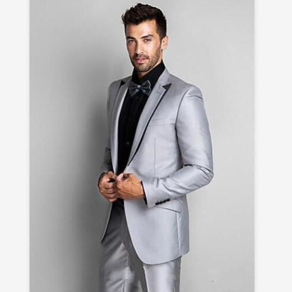 New Men's Suit Smolking Noivo Terno Slim Fit Easculino Evening Suits For Men Shiny Sliver Prom Groom Tuxedos Best Man Business