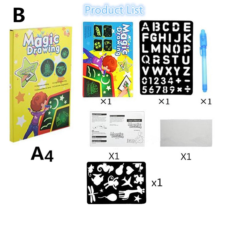 Hdf0e9807d3ae4cbb9701fe464b606cfaz - Educational Toy Drawing Board Tablet Graffiti 1pc A4 A3 Led Luminous Magic Raw With Light-fun